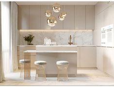 Utilisation de beige mat pour les meubles et ilot. Crédance marble et touche de cuivre. Touche Art Déco.