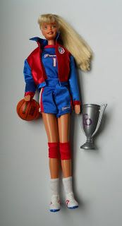 This Barbie doll, circa 1990, sports a WNBA uniform