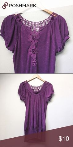 NWOT Lace Yoke Top New without tags top in a deep, beautiful purple. Crocheted yoke detail at the collar and midway down the back (cover photo).   ✅Offers On Items Over $10 ✅Bundle & Save 🚫Trades 🚫Off-Posh 🚫Modeling Apt. 9 Tops
