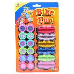 Spaakreflectoren Bike Fun. Een 18-delige set met 2 soorten spaakreflectoren. De reflectoren zijn gemaakt van plastic.