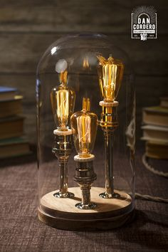 3 Miniature Edison Bulbs - Bell Jar Table Lamp - Created By: Dan Cordero