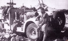 """Te Anau II"" of 'T1' Patrol was the only remaining Chevrolet to survive air attack during the withdrawal from Operation Caravan. The vehicle is armed with two twin Browning machine guns."