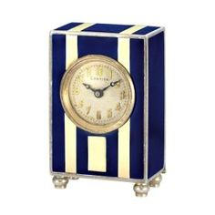 Cartier Art Deco Sterling Silver and Enamel Miniature Desk Timepiece circa 1920s by shauna