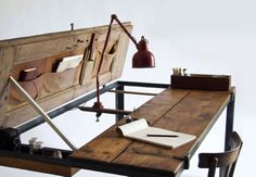 Vintage doors made into a desk. Shutters would probably work too. Workin' It: 15 DIY Desks You Can Build via Brit + Co.