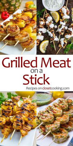 The best recipes for grilled meat on a stick! Summer grilling at it's best! Seasoned/marinated and skewered up beef, chicken, pork, shrimp, kebab/kebob that's grilled to perfection! Meat Skewers, Kebabs On The Grill, Kabobs, Meat On The Grill, Grilled Skewers, Pork Rib Recipes, Meat Recipes, Healthy Recipes, Recipes Dinner