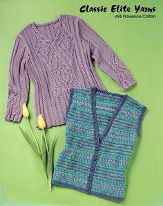 Пуловер с косами спицами с описанием и схемой от Норы Гоган