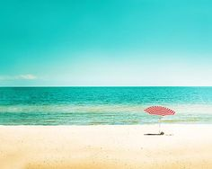 beach photography umbrella nautical decor fineart print - for the kids to paint for me