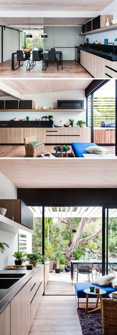 In this modern kitchen, wood cabinetry is combined with black countertops which match the black dining set. Another sliding door at this end of the house opens up to an outdoor space. #ModernKitchen #WoodAndBlackKitchen