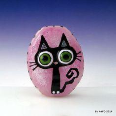 """BIG EYED BOO"" byKAYO a Handmade BLACK CAT Lampwork Art Glass Focal Bead SRA #Lampwork"