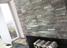 Gray natural stone wall in modern interior design.