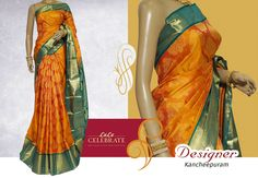 Add some fresh touch to your wardrobe with this gorgeous orange color Saree ! Material : Kancheepuram  Color : orange Work : Body full self design, contrast border and plain bavanji border ‪#‎LuluCelebrate‬ ‪#‎DesignerKancheepuaram‬