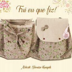 Mochila Vintage feita pela artesã Denise Knapik.  Os tecidos utilizados são da coleção Cashmere e Poá.