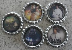 5 x Star Wars Inspired Flattened Silver Bottle Caps - Great for Jewellery, Cards, Keyrings Star Wars Christmas Tree, Bottle Caps, Gift Ideas, Jewellery, Inspired, Stars, Unique Jewelry, Handmade Gifts, Silver