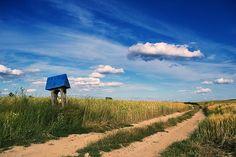 Roztocze. Gródki. Kapliczka kłodowa Landscape Pics, Bulgaria, Hungary, Happy Life, Country Roads, Clouds, Sky, Memories, Mountains