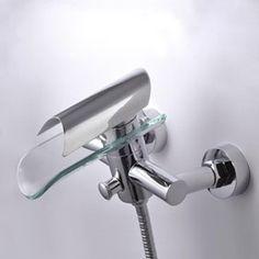 Contemporary Single Handle Wall-Mount Waterfall Glass Shower Tap T0814W http://www.uktaps.co.uk/bathtub-taps-c-21.html