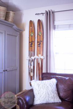 Today I'm sharing a more sentimental piece of home decor - these vintage wooden Cypress Garden water skis hold a special place in my heart!