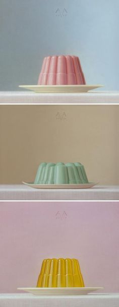 Netherlands based artist Arnout van Albada paints all sorts of still-life objects including these stunning paintings of jelly / jello and toilet paper! Amazing and such gorgeous pastel colours too Illustration Arte, Kitsch, Grafik Design, Food Illustrations, Artsy Fartsy, Food Art, Color Inspiration, Painting & Drawing, Still Life