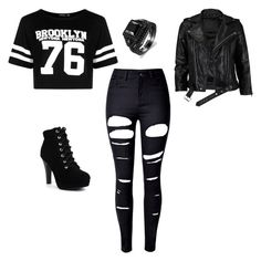 """Emo phase, first day of school"" by valentinahades88 on Polyvore featuring Boohoo, WithChic and VIPARO"