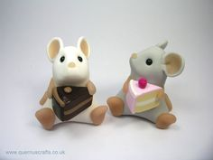 Little White Mouse with Chocolate Cake Ornament by QuernusCrafts, £15.00