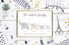 printable family of elephants poster print