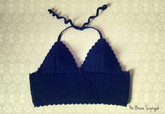 Easy Pattern Crochet Crop top w/ Charts - Translated from Portuguese ---Top black crochet by Bruna Szpisjak