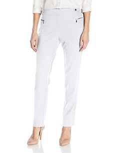 Calvin Klein Women's Slim Fit Dress Pant with Zipper Hard-$79.50