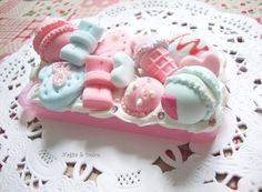 Decoden case: Cotton Candy-Flavoured Desserts by NagisaAndDolce on DeviantArt Kawaii Diy, Kawaii Shop, Kawaii Cute, Cute Phone Cases, Iphone Cases, Cotton Candy Flavoring, Decoden Phone Case, Candy Art, Cold Porcelain