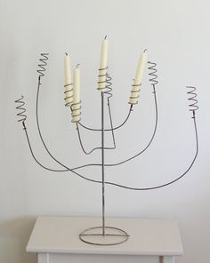 Vintage Wire Candelabra - Wedding Candle Centerpiece with Chalky Grey Patina