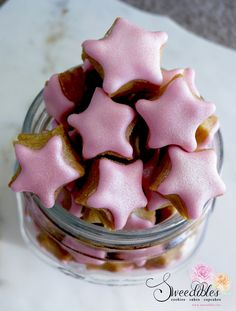 Sweedibles Star Jar - extra mini shimmering pink star cookies
