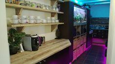 Coffee bar, fish tank and backwash area at Samuel David Hairdressing Bristol #hair #haircolour #fish #backwash #coffee #bristol #sdhairdressing