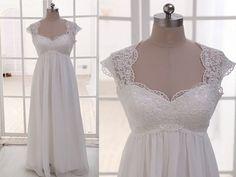 chiffon wedding dress ,cheap wedding dress ,cap sleeves wedding dress ,white lace see through back wedding dress,WD1709
