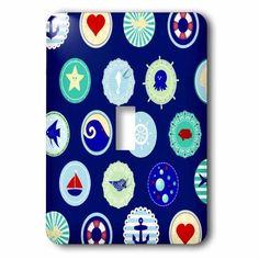 3dRose Sea Blue nautical decor pattern - sailor ocean theme with boat fish anchors and aquatic marine life, Single Toggle Switch