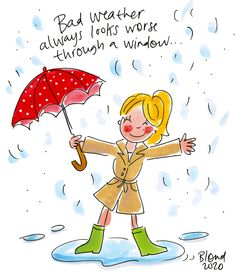 Weather Quotes, Blond Amsterdam, Red Umbrella, Way Of Life, Rainy Days, Make Me Smile, Cartoon, Creative, Painting