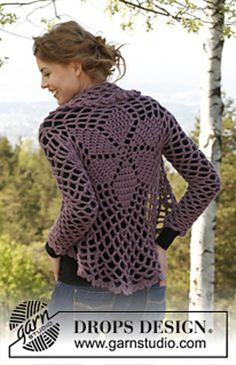 FREE Pattern. Crochet. Ravelry: 141-1 Dalie Delight - Jacket worked in a circle in Andes pattern by DROPS design
