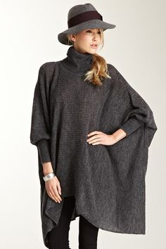 Love Token  Oversized Turtleneck Poncho Tunic