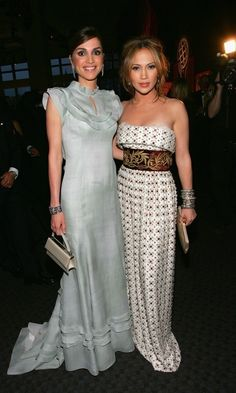 May 2006: A touch of Hollywood glamour in an ice blue gown as she chatted with Jennifer Lopez during Time Magazine's 100 Most Infuential People in NYC.
