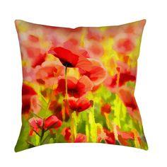 Thumbprintz Poppies Decorative Pillow (26 x 26), Multi (Polyester, Graphic Print)