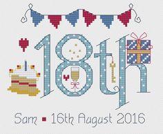 18th Birthday Blue Cross Stitch Kit £18.95 | Past Impressions | Nia