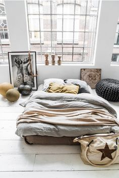 Bed on the floor, luxe edition.