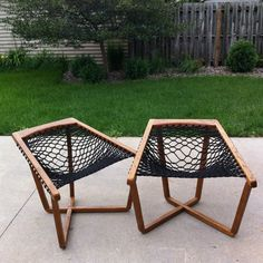 Pair of Sling Chairs, Rope Chairs Mid Century Mod, Patio Porch Hammock MCM  #MidCenturyModern