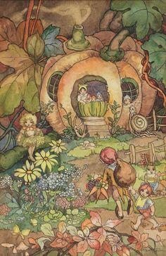 Alenquerensis: Peg Maltby e a sua arte. - Peg Maltby - and her art. Autumn Illustration, Children's Book Illustration, Fairy Paintings, Kobold, Fairy Pictures, Vintage Fairies, Fairytale Art, Flower Fairies, Fairy Art