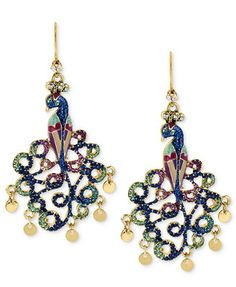Betsey Johnson Gold-Tone Peacock Drop Earrings
