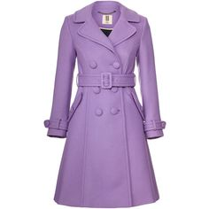Orla Kiely Wool Twill Trench Coat ($285) ❤ liked on Polyvore featuring outerwear, coats, jackets, purple, violet, purple wool coat, wool coat, twill coat, belted coat and twill trench coat