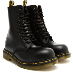 DR MARTENS Limited Edition Yohji Yamamoto 10 Eye St Boots (15.015 RUB) ❤ liked on Polyvore featuring shoes, boots, ankle booties, sapatos, zapatos, black leather ankle booties, black booties, steel toe caps, black lace up booties and toe caps