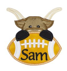 Longhorn Bull Football Personalized Patch Name Patches, Sew On Patches, Iron On Patches, Football Fans, Cheerleading, Embroidery, Christmas Ornaments, Sewing, Projects