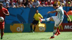 Golazo de derecha a los 8' ....... Mundial Brasil 2014............... Partido de Cuartos de Final... Argentina 1 Belgica 0 ... gol de Gonzalo Higuain #9 a los 8' ... 1 de julio de 2014 en el Estadio Nacional de Brasilia. Brasilia.