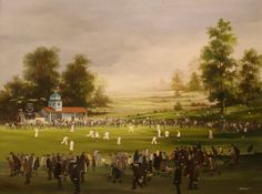 'The Cricket Match'. Oil painting by Brian Shields (Braaq).