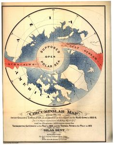 Map showing the circumpolar area and the supposed open polar sea by Silas Bent. Image ID: libr0568, Treasures of the NOAA Library Collection. Photo Date: 1872.