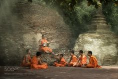 Old monk teaches little monks with kindly mind by preeda_list
