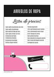 Listado de precios arreglos de ropa  Costura  Arreglos  Modista ... af692b886c39